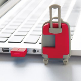 Unique Design Red Luggage Cases Shaped USB Flash Drive