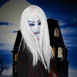 Horrible White Hair Vampire Design Halloween Mask