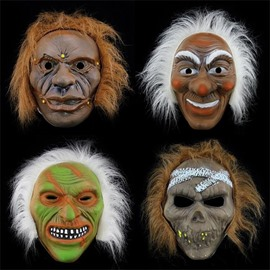 Monstrous Design Monster Mask with Hair Halloween Decoration