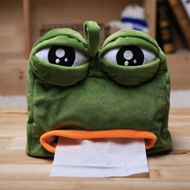 Funny Greem Sad Frog with Big Eye Tissue Box