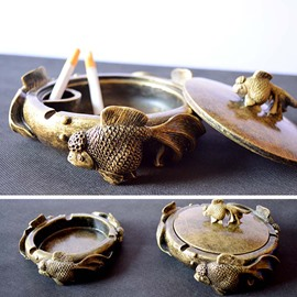 Vintage Antique Brass Cute Goldfish Swimming Ashtray