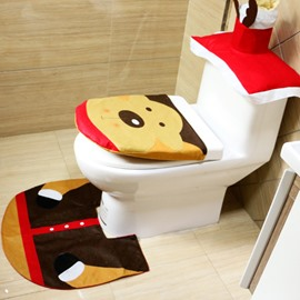 Santa Claus Deer Pattern Toilet Seat Covers Christmas Decoration