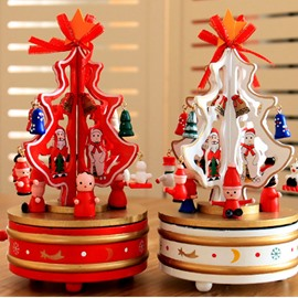 Music Box Merry-go-round Wooden Christmas Tree Festival Decoration