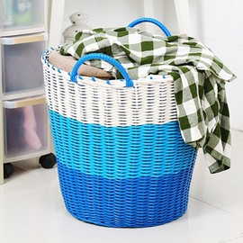 Woven Plastic Round Clothes Basket Toy Storage Box