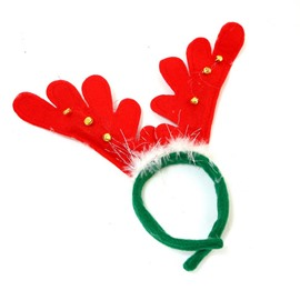 Antler with Fur Head Hoop Christmas Decoration Set of 4