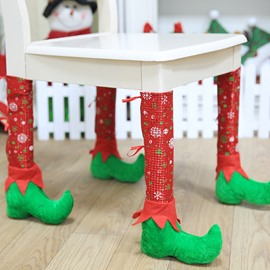 Clown Shoes Shape Chair Leg Socks Christmas Decoration Set of 4