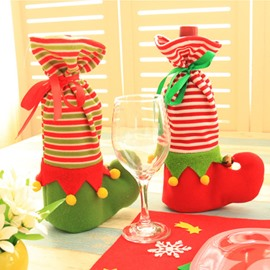 Wine Bottle Cover Elves Boots Christmas Decoration