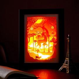 Creative Chirstmas Style Elk Pattern 3D Paper Carving Lamp