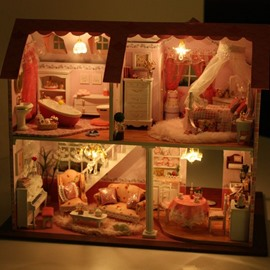 Luxury Miniature DIY Dollhouse with LED Light Birthday or Valentine Gift