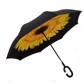 Pretty Flower Pattern Multicolor Option Double Layer Windproof Reverse Umbrella