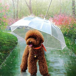 PVC Transparent for 18 inch High Quality Built-in Leash Pets Umbrella