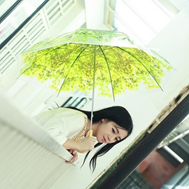 Vivid Semi-transparent Leaves Pattern Dome Shape Umbrella
