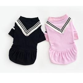 Pure Comfortable Color V-Neck Cotton Dog T-Shirt or Dress