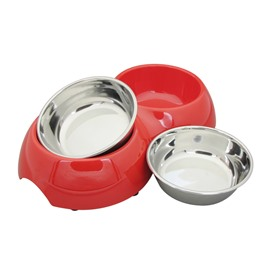 Stainless Steal Non Slip Double Water and Food Pets Feeding Bowl