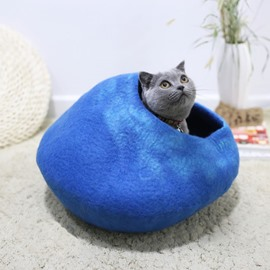 Handmade Handcrafted Wool Cat House Bed Cave