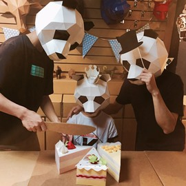 Modern Aesthetics Animal Mask DIY Paper Art for Party Photography Decoration Black Panda