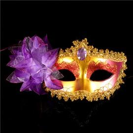 Halloween Princess Side Multi-color Flower Half face Mask