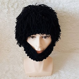 Women Men Beard Wig Funny Knit Wool Hats Caps Halloween Decorate
