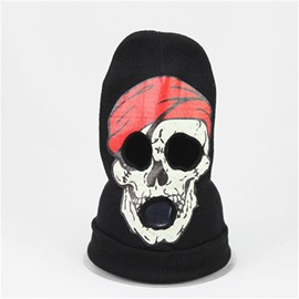 Halloween Skull Cosplay Horror Mask Knit Hat Red