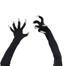 Long Nails Halloween Cosplay Black Gloves