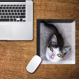 3D Little Cat Pattern Removable Mouse Pad Desk Stickers
