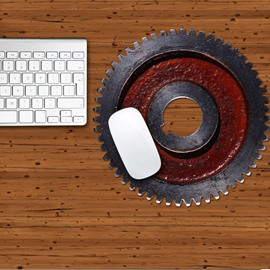 3D Gear Black Red Pattern Removable Mouse Pad Desk Stickers