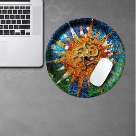 3D Colorful Dish Sun Pattern Removable Mouse Pad Desk Stickers