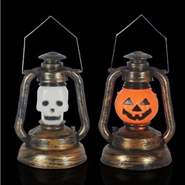 Halloween Portable Luminous Plastic Lights Pumpkin Skull Kerosene Lamp
