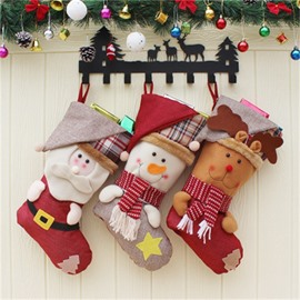 Room Decoration Classic Non-Woven Fabric and Wool Red Christmas Stocking