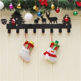 Classic Non-Woven Fabric and Wool White Christmas Stocking