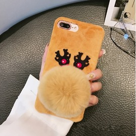 Christmas Deer Shape Fluffy Phone Cover for Apple 6/7/8 Plus X Cases