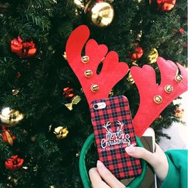 Merry Christmas Deer Red Houndstooth Phone Cover for Apple 6/7/8 Plus X Cases
