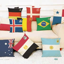 World Cup Theme Modern Style Polyester Ramie Material Pillowcase
