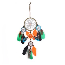 Orange And Green Feather Fashionable Holiday Decoration Hand Knitting Dreamcatcher