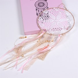 Pink Girlish Style Holiday Decoration Hand Knitting Dreamcatcher