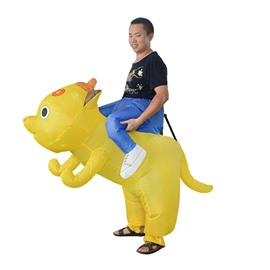 Hilarious Yellow Dog Ride on Inflatable Costume