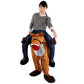 Brown Horse Piggyback Funny Halloween Inflatable Costume for Adult