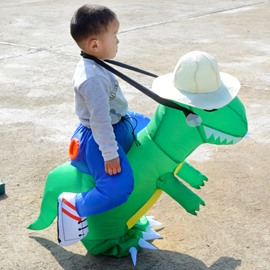 Little Green Tyrannosaurus Rex Halloween Party Inflatable Costume for Children
