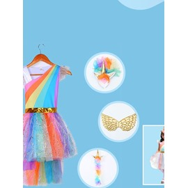 Multi Color Dream Unicorn Princess Dress for Girl