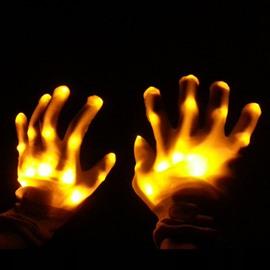 Yellow Luminous Skeleton Flashing Rave Finger LED Glowing Gloves for Halloween