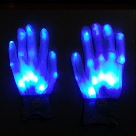 Halloween Blue Light LED Skeleton Glowing Gloves for Party