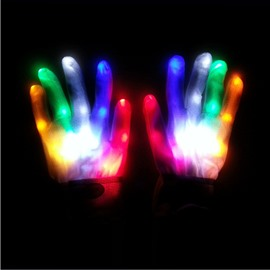 Rainbow Color Magic Luminous LED Glow Gloves for Halloween