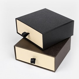 Drawer-style Original Plain 2-color Hardboard Gift Box