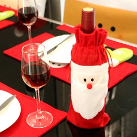 Santa Claus Christmas Wine Bottle Covers for Dinner Party Kitchen Decoration