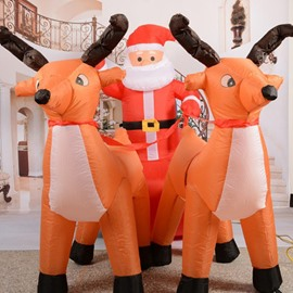 4.6 Feet Inflatable Reindeer Pull Santa's Sleigh with Blower Christmas Decoration