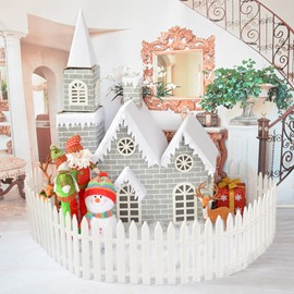 3.6/4.6 Feet Gray Brick Paper Christmas Castle Full of Snow Decoration