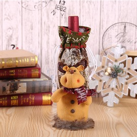 3D Furry Christmas Doll Christmas Wine Bottle Cover