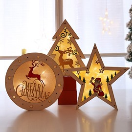 Christmas Illuminating Wood Color Wooden Ornament