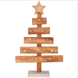 Simple Christmas Tree Shaped Wooden Table Top Decoration