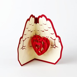 3D Love in the Palm Valentine's Day Greeting Card